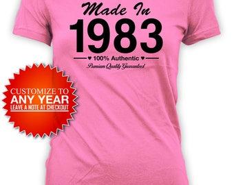 Personalized Birthday T Shirt 35th Birthday Gift Bday Shirt Custom Gift Ideas For Her Bday Present Made In 1983 Birthday Ladies Tee - BG428