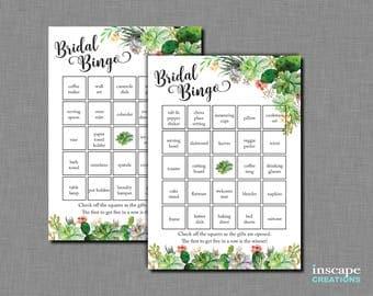 Succulents Bingo Game, 40 Bridal Shower Pre-Filled Bingo Cards + 1 Blank Bingo Card, Floral, Country, Unique Household Bingo Gift Items