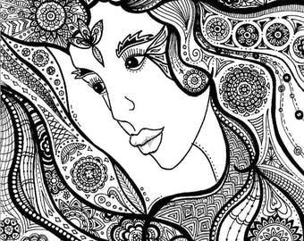 Woman: Doodle Art