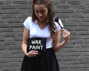Make-up bag War Paint, cosmetic bag, funny, make-up tas make up, organizer, mascara, travel, musthave, personalize, custom