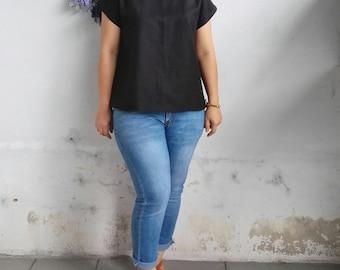 Linen Top / Basic Linen Top, Linen Blouse in Black