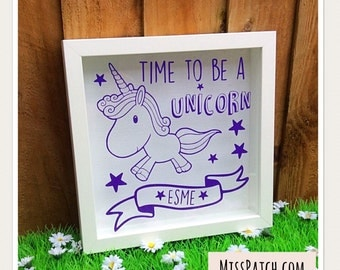 Time To Be A Unicorn Quote Box Frame (Can be Personalised)
