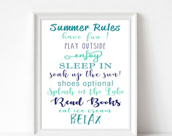 Summer Rules, Summer Teal Blue Print, Summer Printable, Summer Rules List, Lake House, Enjoy Summer, Typography,16x20,11x14, 12x18, 8x10, A4