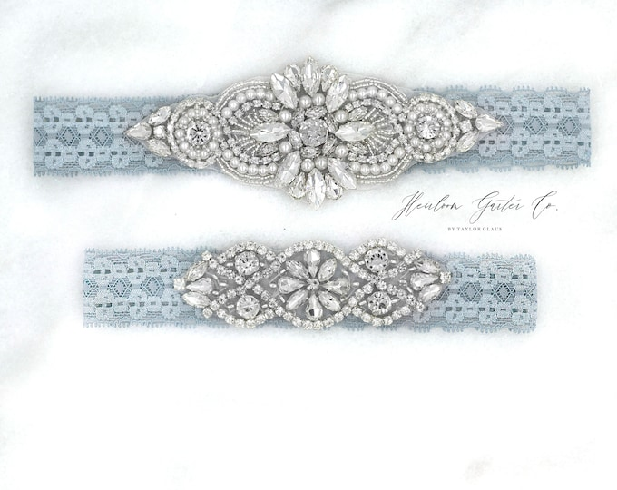 Wedding Garter, NO SLIP Lace Wedding Garter Set, Blue bridal garter set, vintage rhinestones, pearl and rhinestone garter set