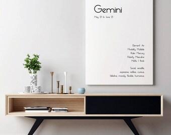 Gemini Art Print Gemini Print Gemini Star Sign Gemini Zodiac Printable Art Gemini Zodiac Art Print Gemini Poster Art Gemini Printable Art