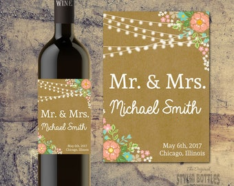 CUSTOM RUSTIC WEDDING Decorations, Custom Wine Bottle Label for Weddings, Bride and Groom Wedding Wine Bottle, Rustic Wedding Centerpiece