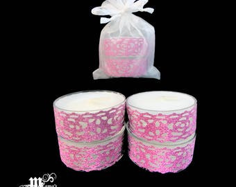 "Unscented Tea Lights with Dark Pink Lace, 1.5""w x 0.6""h, Organza Pouch (x3), Sparkly, Wedding, Bride, Dinner, Long-lasting, Candles"