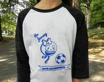 Jersey Sour Blueberry Veggie Kids Sports Mascot, Kids Baseball Style T-shirt, Unisex Children's Sizes, Soccer, Football