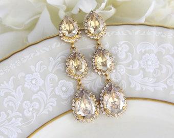 Bridal earrings, Bridal jewelry, Gold Crystal earrings, Chandelier earrings, Champagne earrings, Bridal Swarovski earrings, Long earrings