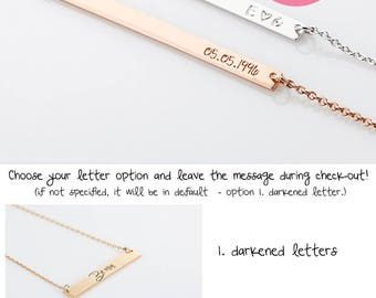 Personalized Bar Necklace,Name Plate Initial Necklace, Bridesmaid Gift, Gold Bar Necklace, Custom Letter Necklace, Long Skinny Bar Necklace