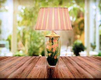 Lamp, Table Lamp, Handmade Table Lamp, Terrarium Lamp, mustard lamp shade, Bedside table lamp, Bedside lamp, Table lamp with lamp shade,