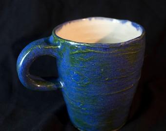 Handmade Blue and Green Slip Mug