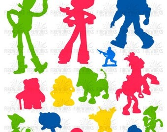 Toy Story Silhouette - toy story character - SVG files for Silhouette Cameo or Cricut – Woody and Buzz Lightyear Silhouette