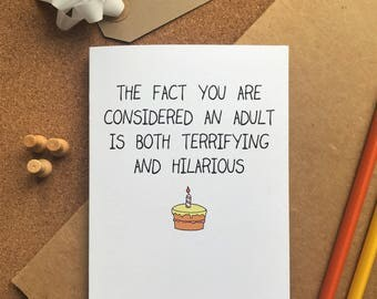 Funny birthday card - Becoming an adult - Adulting