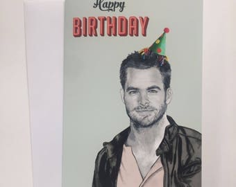 Happy Birthday A5 Illustrative Card - Chris Pine