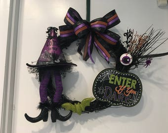Witch Enter if You Dare Halloween Wreath