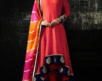 36 inch High Low Red Linen Anarkali Suit