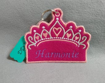 Girls crown personalized backpack zipper pull