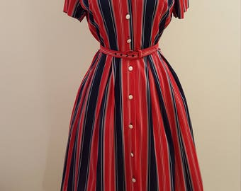 Vintage 60's Polyster Day Dress - Fantastic Red and Navy Stripes! 40-30-44+!