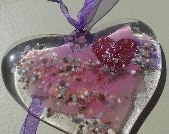 Heart, glass heart, suncatcher. Fused glass heart for your window or your wall. Suncatcher for window. Glass heart.