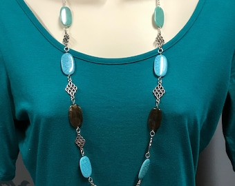 Beaded necklace, Statement necklace, turquoise bead necklace, long necklace
