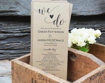 Wedding Program Template, Wedding Program Printable, Instant Download, We Do Printable Ceremony Program, Order of Service Program, WLP228