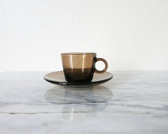 Vintage Vereco Espresso Cup, Coffee Lover, Espresso, France, French Glass, French Kitchen, Taupe Espresso, Brown Coffee Cup, Coffee Mug