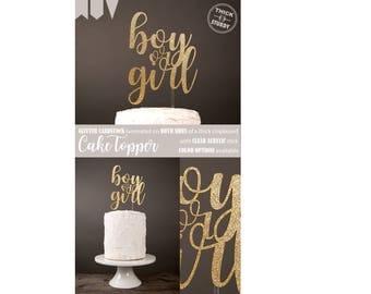 Boy or Girl cake topper, Gender reveal cake topper for baby shower, Gold Glitter party decorations, cursive topper