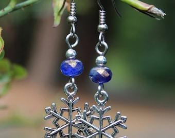 Snowflake Earrings, Czech Glass Earrings, Blue Earrings, Holiday Earrings, Christmas Earrings, Winter Earrings, Seasonal Jewelry, Snowflake