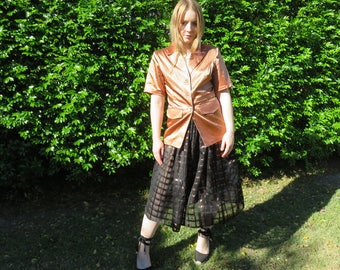 COPPER Metallic Black Silk Check Skirt / High Waist Full Skirt / Midi Skirt / 70's Vintage Skirts / Classic Sheer Cotton