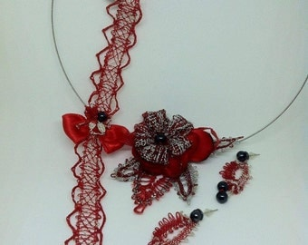 jewelry lace silver&red lace set red lace necklace lace set christmas jewelry set bobbin lace set bridal set gift from her