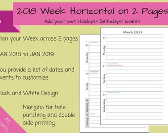 CUSTOMIZED 2018 - Dated Weekly on 2 Pages Printable Planner, Horizontal Layout, Half Sheet, A5, kikki.K, Filofax inserts