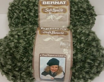 2 Skeins (5oz/140g each) Older Version Bernat Soft Boucle' Yarn in Moss Green Shades, No Dye Lot