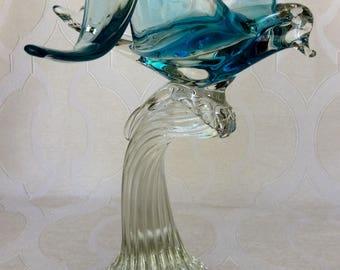Vintage Murano Blue Seagull Bird On A Wave Art Glass Sculpture