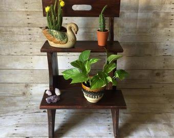 Handmade Wood Ladder Shelf Plant Stand Bookshelf Set Stool - Rustic Boho Jungalow