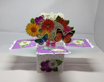 3D Pop Up Exploding Box Flowers & Butterflies Thank You/Thanks Card - luxury personalised bespoke UK Mum/Daughter/Sister/Niece/Grandma