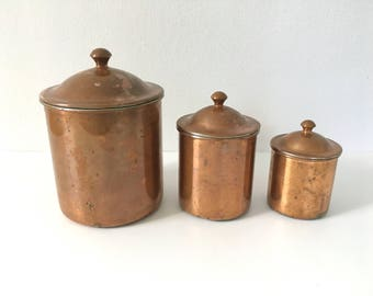 Vintage Copper Kitchen Canisters Bins Containers Made in Portugal