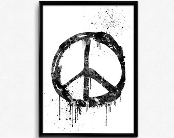 Peace Sign, Hippie Symbol, Black and White Watercolor, Poster, Room Decor, gift, print Wall Art (167)