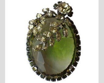 Vendome 1959 Peridot Glass Leaves Rhinestones Pin/Pendant, Magazine Ad Piece, SCARCE
