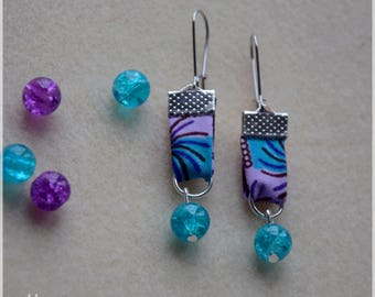 African wax print, purple and turquoise earrings