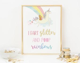Unicorn wall art PRINTABLE, Unicorn gift, Unicorn decor, Unicorn print, Unicorn art print, Unicorn bedroom decor, Fart glitter Poop rainbow