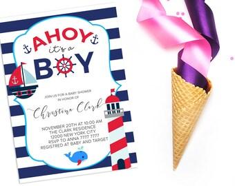 AHOY it's a Boy Baby Shower Invitation Navy Nautical Baby Boy shower invite Whale Striped DIY invitation Printable digital