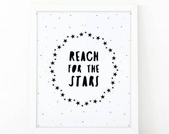 Reach For The Stars, Nursery Print, Printable Art,Black and white, Kids room decor, Nursery Decor, Instant Download, scandinavian print