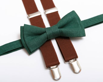 Moss Green Linen bow tie Brown suspenders Bow tie for men Boys Cognac braces Toddler bow tie Groomsmen outfit Wedding outfit Ring bearer