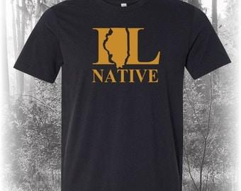 Black Illinois Native Shirt, Native Illinois Shirt, Illinois Shirt, IL Shirt, Illinois State Shirt