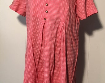 Vintage 1990s Katie MFG Pink and White Polka Dot Romper with Pearl Accent Buttons