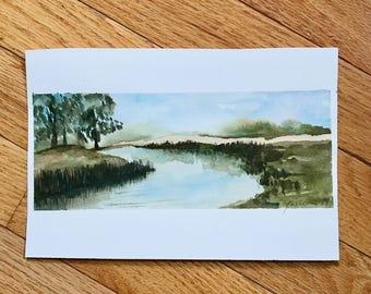 River Landscape, original watercolor, small painting, original art, watercolor painting, landscape painting, watercolor landscape,