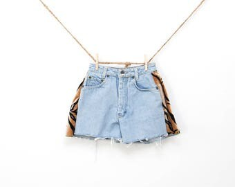 vintage high rise jean shorts | denim cut offs | tiger print shorts | animal print jeans | ripped denim | size 0