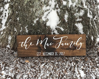 NEW - Family Name Sign, Family Established Sign, Wedding Established Sign, Wedding Last Name Sign, Family Established Wood Sign, EST Sign