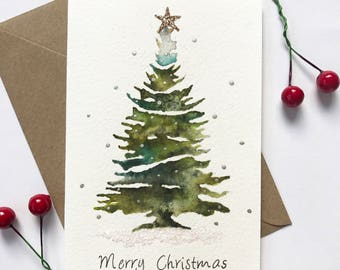 Watercolour christmas tree | glittery christmas card, festive card, holiday card, handmade christmas, hand painted card, cute christmas card